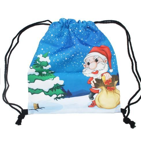 Cheap Gift Promotional Custom Merry Christmas Cotton Backpack Bag