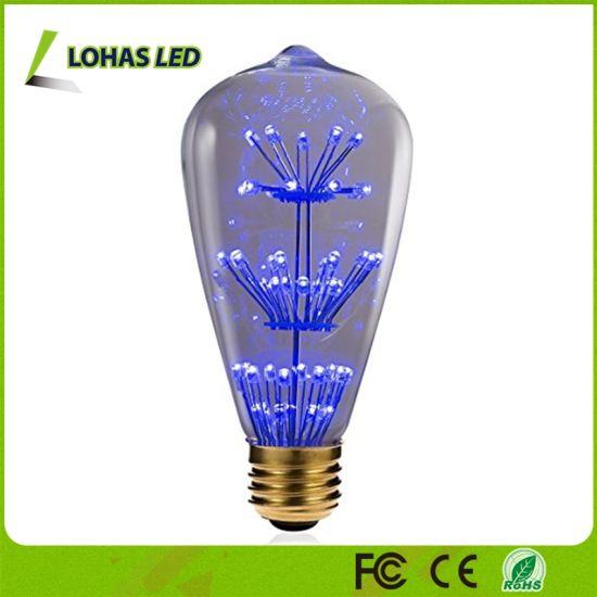 3W E26 St64 Starry Blue Light Nostalgic Decorative LED Filament Bulb for Wedding Christmas