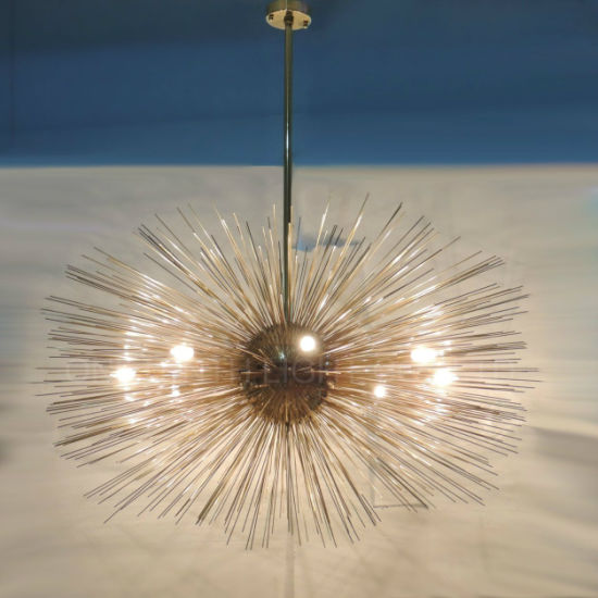 Modern Decorative Bursting Brass Finish Metal Chandelier at Villa