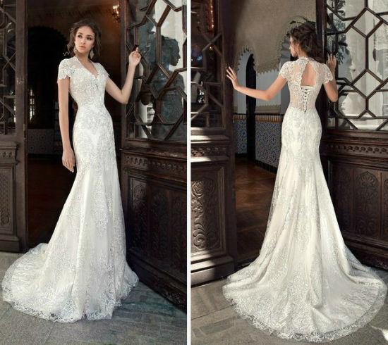 China Mermaid Lace Wedding Gown Corset Bodice Bridal Dress Nd001