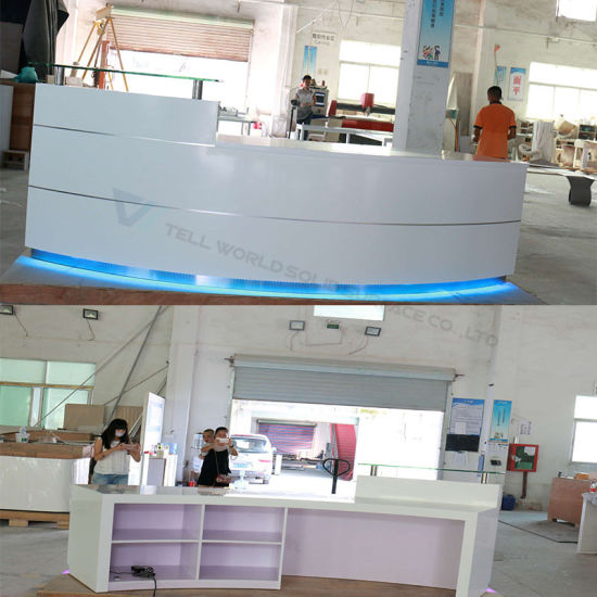 Wholesale LED Front Office Counter Design Luxury Corian Round Office  Reception Desk