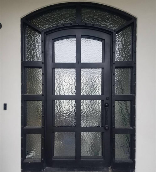 Wrought Iron Single Door With Side Lights