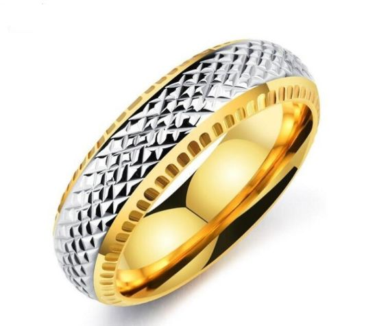 China New Arrival Gold Silver Interval Fashion Men Ring Luxury