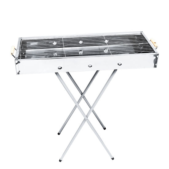 Simple Cheap BBQ Portable Stainless Steel Wooden Handle Folding Charcoal Grill