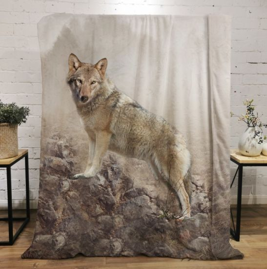 Wolf 3D Printing Fleece Throw Blanket for Couch Sofa or Bed Throw Size Super Cozy and Comfy for All Seasons