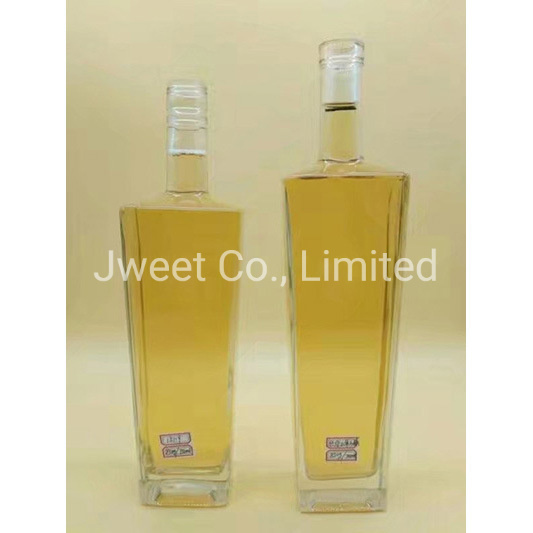 Square Flint Glass Clear 750ml Whisky Alcoholic Glass Bottle