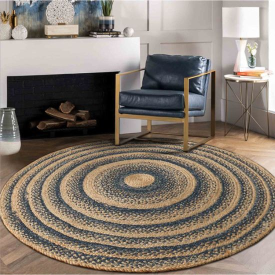 Jute Round Rug, Boho Style Handmade Indoor Stitching Woven Area Rug Braided Natural Fiber Floor Mat - 4′ - Black