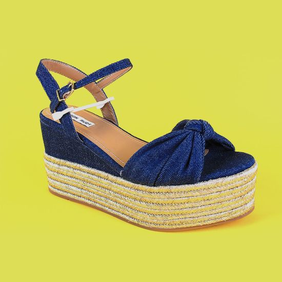 Navy Blue Espadrille High Wedge Shoes