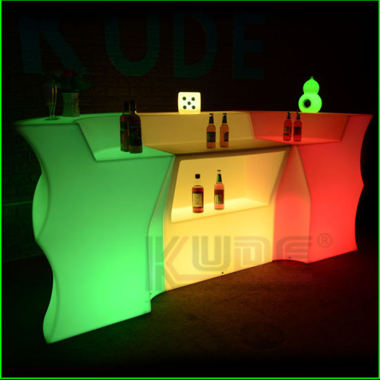Night Clubs Lighted Bar Tables LED Commercial Bar Counter