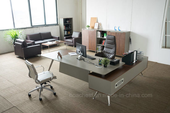 2017 Modern Metal Leather Wooden Desk (V9a) pictures & photos