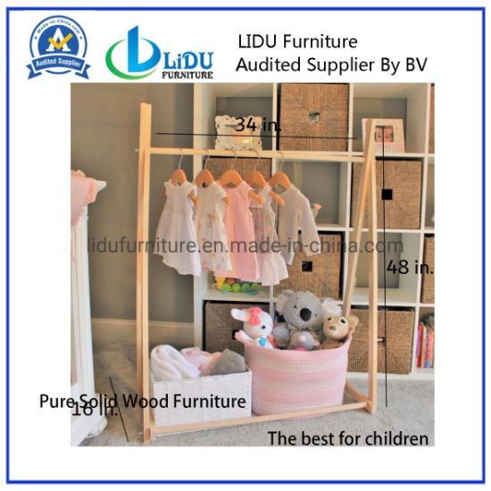 Bamboo Towel Hanging Clothes Rail Tree