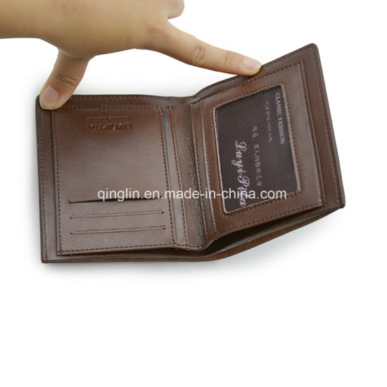 Minimalist Men′s Slim Brown Leather Wallet, Personalised Logo, Short Wallet pictures & photos