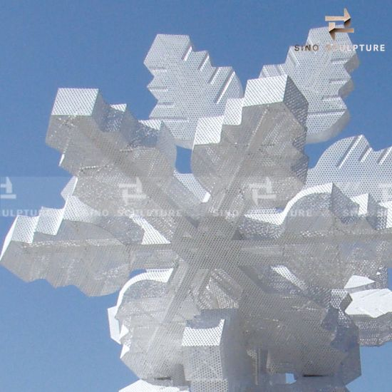 White Painted Stainless Steel Snowflake Sculpture Art Project