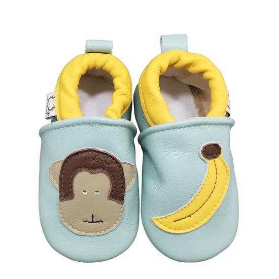 Breathable Black Blue Monkey Decoration Baby Shoes