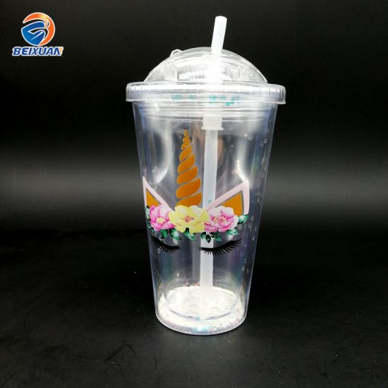 Wholesale 15oz Reusable Eco Cheap Gift Plastic Double Wall Cup with Straw and Lid for Water