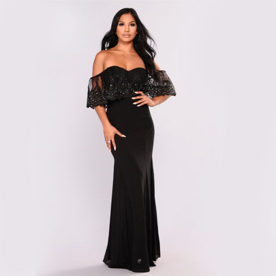 6d9747f31111 Social Gathering Flounce Dress Black off Shoulder Dress Lace Long Evening Dress  Black Party Gown