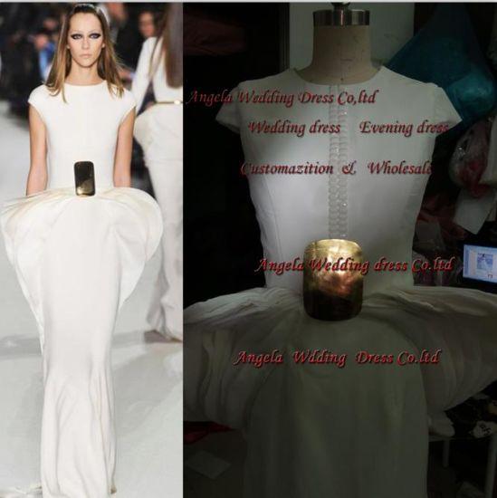 Free Shipping Drop Shipping Celebrity Graduation Evening Dress Scoop Sleeveless Floor-Length Sash Cascading Ruffles Sheath White Custome