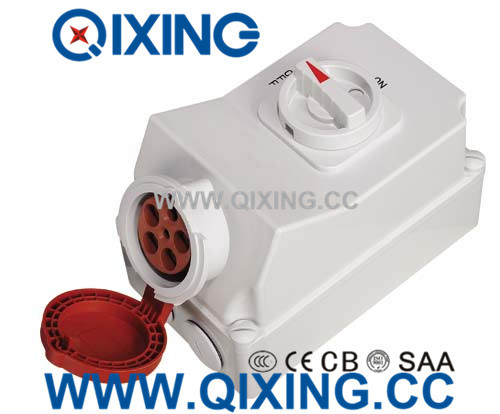 32A 5p Red IEC Socket with Switch