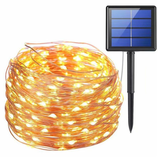 Outdoor String Lights 200 LED Solar Fairy Lights 8 Modes Copper Wire Lights Waterproof Outdoor String Lights for Garden Patio Gate Yard Party Wedding Indoor