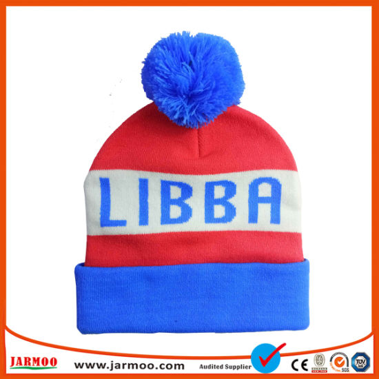 167b4149a95 China 100% Acrylic Jacquard Stripe POM POM Beanie Hat - China Beanie ...