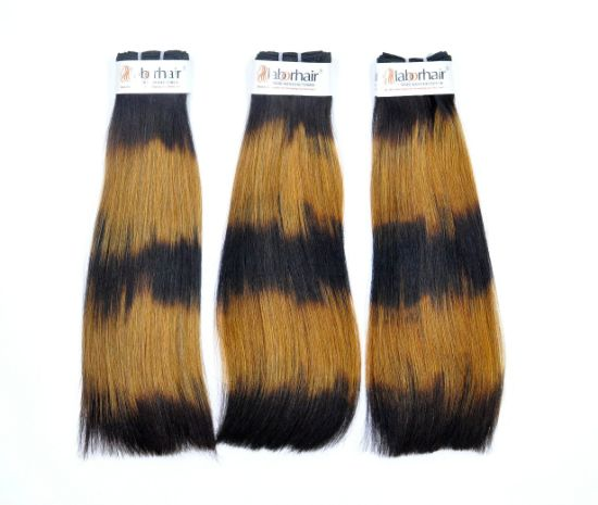 Brazilian Super Double Drawn Virgin Human Hair Weft (Thick Straight Five Ombre)