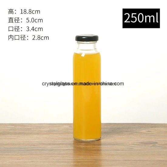 300ml 500ml Tall Juice Glass Beverage Bottle Wholesale with Metal Lid