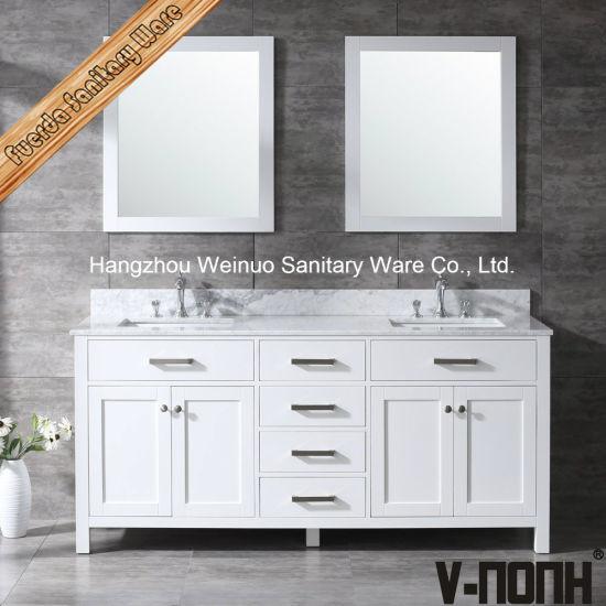 Solid Wood Double Sinks Bathroom