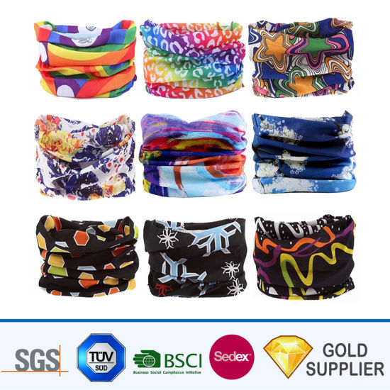 High Quality Sublimation Printed Air Purify Pm2.5 Pollen Outdoor Sport Protection Multi-Color Headband Stretch Polyester Neckerchief Microfiber Tube Headwear