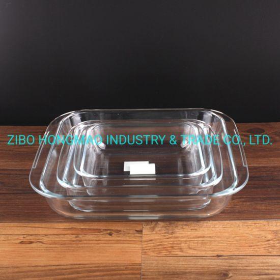 3000ml 1800ml 1100ml 3PCS Square Glass Cookeware Dinner Set Bakeware Set
