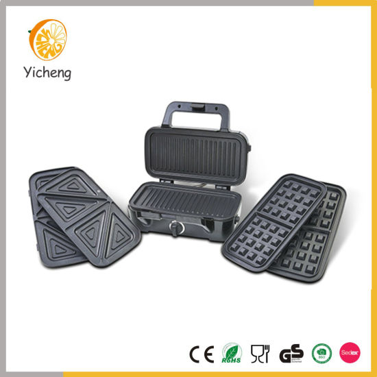 1200W 3 in 1 Detachable Deep Fill Sandwich Toaster Belgian Waffle Iron Grill Panini Maker with Temperature Control pictures & photos
