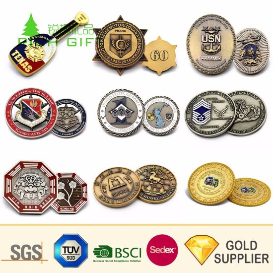 Chinese Supplier Custom Metal Br Stamped Doming Us Navy Eagle Logo Ing Gold Coins For