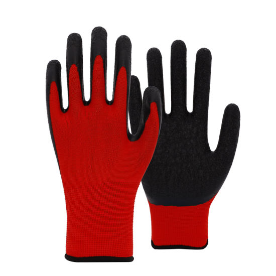 13 Gauge Polyester Knit with Black Crinkle Latex Coated Glove