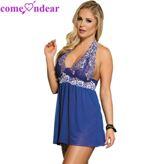 696892cac ... China Wholesale Cheap Halter Paypal Accepted Blue Floral Women Sexy  Babydoll ...