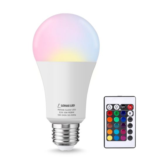 A19 E27 B22 LED Color Changing Light Bulb with Remote Control RGBW 10W Dimmable LED Bulbs for Home Decoration Party pictures & photos