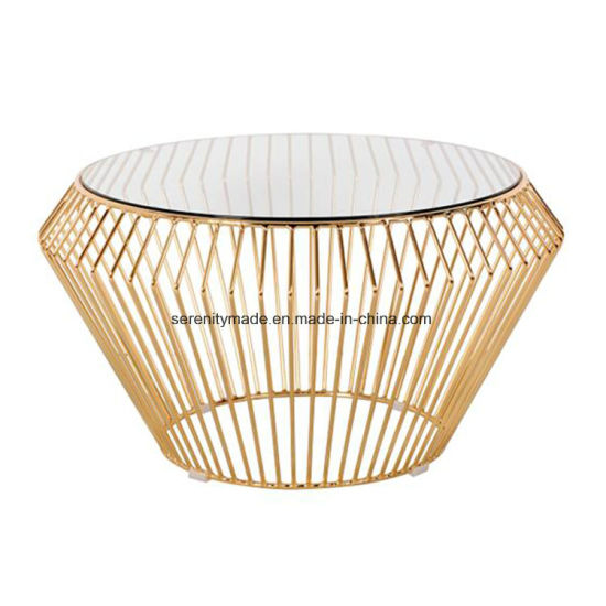 Wire Frame Coffee Table.China Plated Modern Design Gold Wire Frame Round Shape Coffee Table