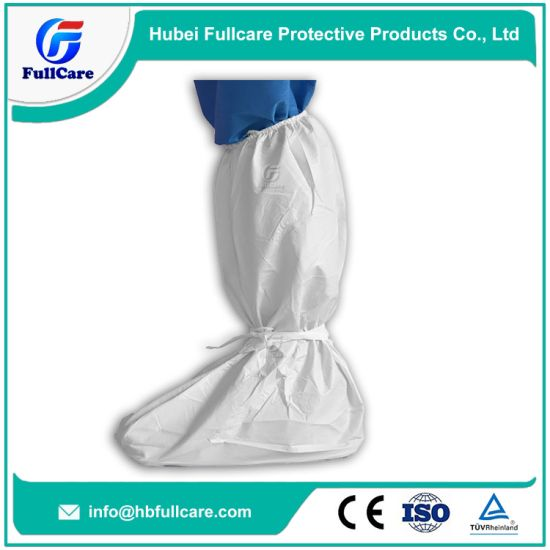 Nonwoven/PP/SMS/PP+PE/Medical/Surgical/Hospital/Plastic/Polyethylene/Poly/HDPE/LDPE/Waterproof PE Overboots, Disposable CPE Boot Cover, with Tie pictures & photos