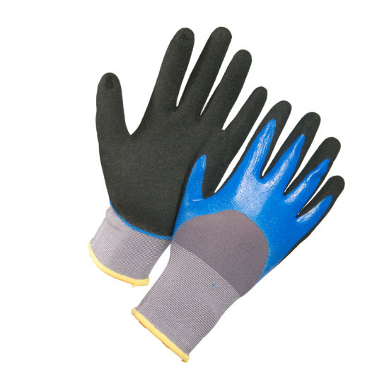 15g Nylon Spandex Black Sandy Nitrile Dipping Safety Work Glove
