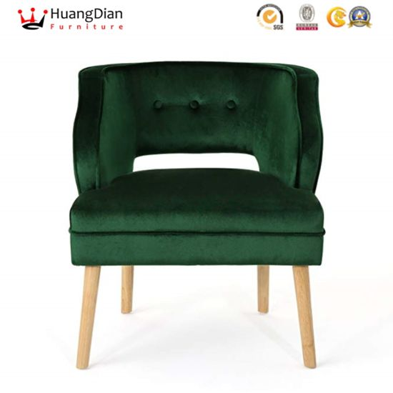 Chinese Custom Furniture Factory Green Velvet Luxury Hotel Lobby Armchair Single Sofa pictures & photos