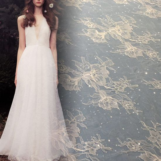 Lace Factory Directly Supply Evening Dress Mesh Sequin Lace pictures & photos