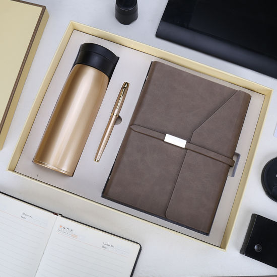 Wholesale Business Leather Notebook Gift Set with Pen and Bottle for Bank Gifts