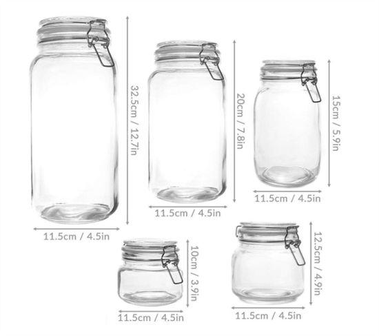Glass Jar with Clip Lock Storage Container pictures & photos