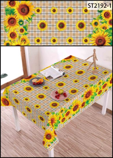 High Quality Printed Vinyl PVC Lace Embroidery Sunflower Table Cover