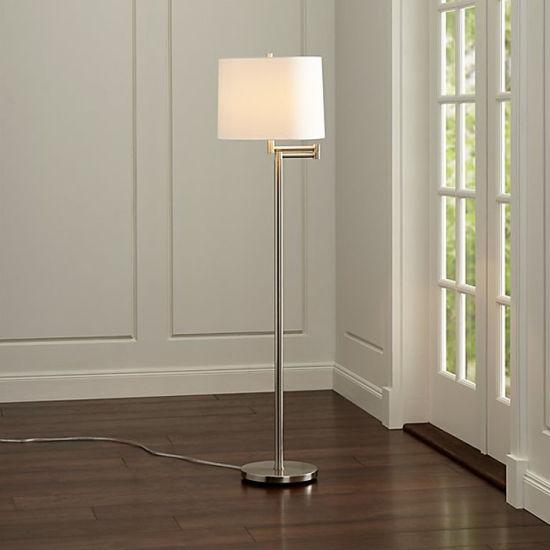 Project Hotel Chrome Modern Decorative Arm Swing Floor Lamp Light for Bedroom