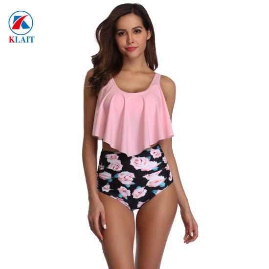 Top Ruffled Print Rose High Waisted Bottom Swimwear Two Piece Female Bathing Suit