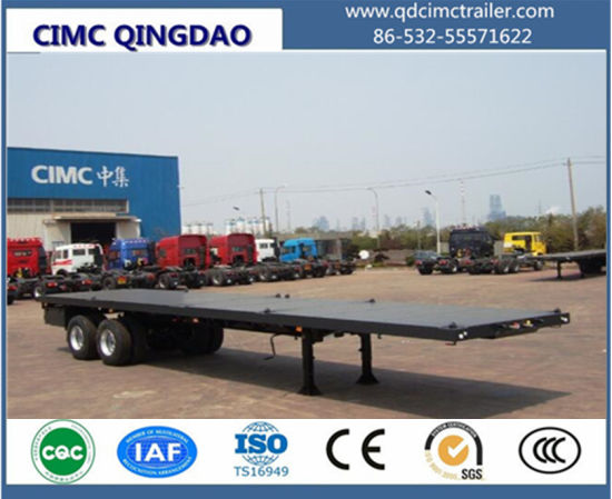 Cimc Tandem Axle 40FT Fatbed Trailer with Bogie Suspension pictures & photos