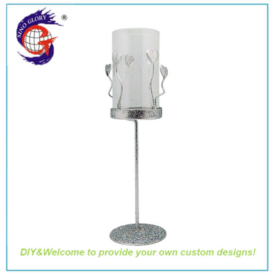 Wholesale Clear Metal Glass Long Stem Candle Holder