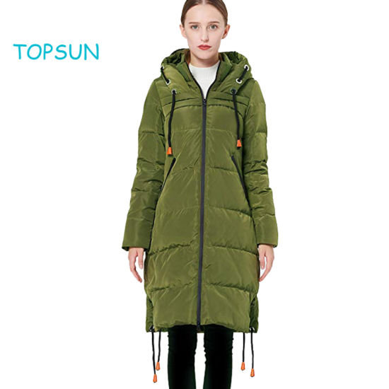Women's Dark Green Long Thickened Contrast Color Drawstring Down Jacket Hooded Coat