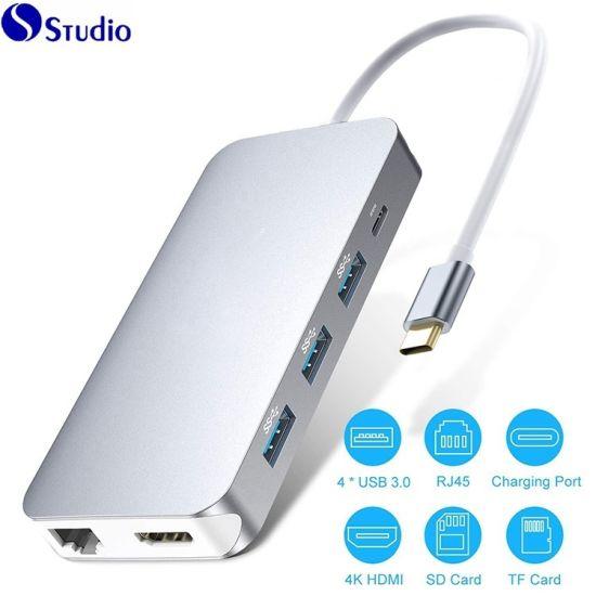 Type C Hub/USB Hub / 9 in 1 Premium USB-C Dock Thunderbolt 3 Dock, Type C  to 4K HDMI Gigabit Ethernet