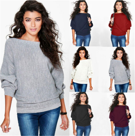 Autumn and Winter Fashion Loose Bat Sleeve Knitted Sweater