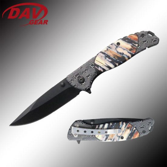 """4.5""""3Cr13 MOV S. Steel Black Coated Blade Spring Assisted Pocket Folding Knife."""